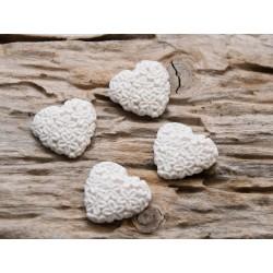 4er Set Herzen mit Blütenstruktur