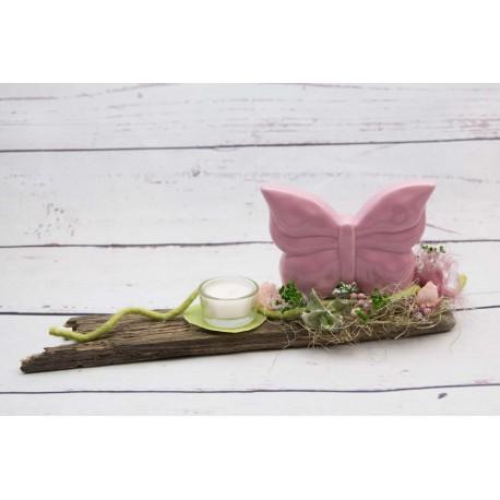 Teelicht rosa Schmetterling