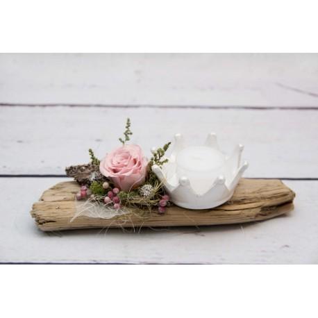 Teelicht Krone mit Rose