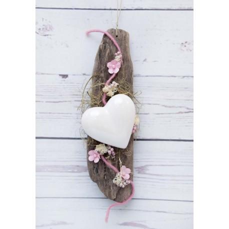 Herz auf Schwemmholz weiss-rosa