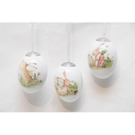 Keramikei mit Hasenmotive, 3er Set