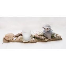 Teelicht Schwemmholz Seehund mit Muschel
