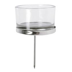 Teelichthalter Glas + Silber, 4er Set