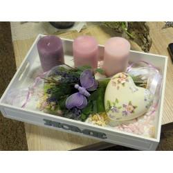 Kerzen-Tablett Flieder